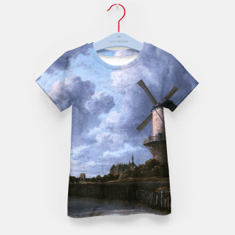 Thumbnail image of The Windmill at Wijk bij Duurstede by Jacob van Ruisdael Kid's t-shirt, Live Heroes