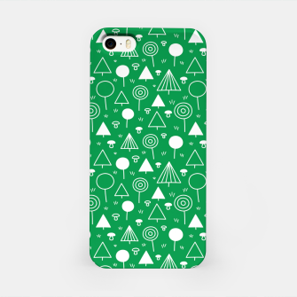 Thumbnail image of Woods Pattern in Green and White Outline  iPhone Case, Live Heroes