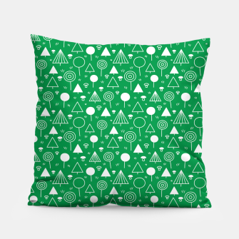 Thumbnail image of Woods Pattern in Green and White Outline  Pillow, Live Heroes