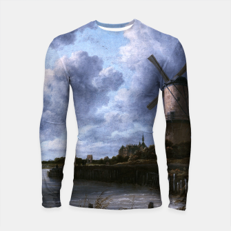 Thumbnail image of The Windmill at Wijk bij Duurstede by Jacob van Ruisdael Longsleeve rashguard , Live Heroes
