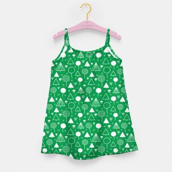 Thumbnail image of Woods Pattern in Green and White Outline  Girl's dress, Live Heroes