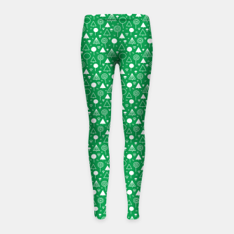 Thumbnail image of Woods Pattern in Green and White Outline  Girl's leggings, Live Heroes