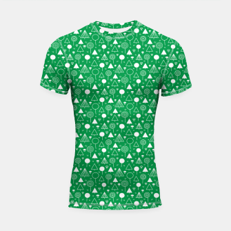 Thumbnail image of Woods Pattern in Green and White Outline  Shortsleeve rashguard, Live Heroes