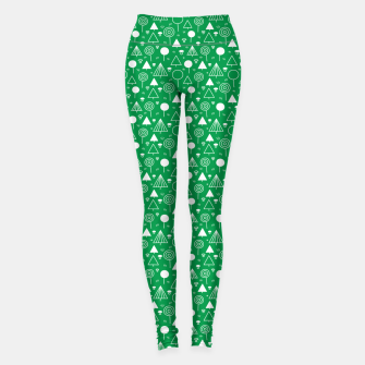 Thumbnail image of Woods Pattern in Green and White Outline  Leggings, Live Heroes