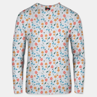 Beautiful Abstract Modern Wildflowers, Blooming Scandinavian Pattern and Print in Trendy Colors Unisex sweater obraz miniatury