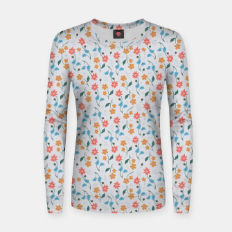 Beautiful Abstract Modern Wildflowers, Blooming Scandinavian Pattern and Print in Trendy Colors Women sweater obraz miniatury