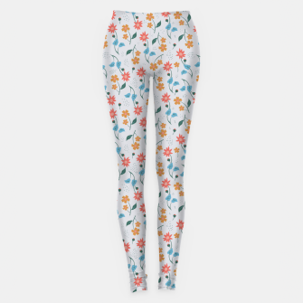 Beautiful Abstract Modern Wildflowers, Blooming Scandinavian Pattern and Print in Trendy Colors Leggings obraz miniatury