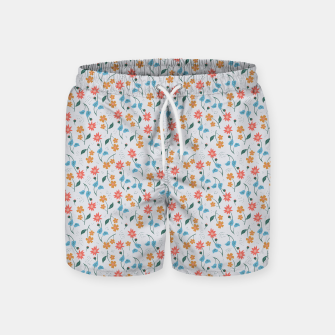 Beautiful Abstract Modern Wildflowers, Blooming Scandinavian Pattern and Print in Trendy Colors Swim Shorts obraz miniatury