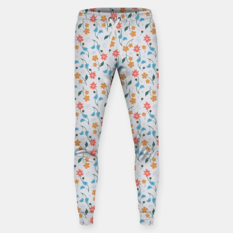 Beautiful Abstract Modern Wildflowers, Blooming Scandinavian Pattern and Print in Trendy Colors Sweatpants obraz miniatury