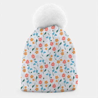 Beautiful Abstract Modern Wildflowers, Blooming Scandinavian Pattern and Print in Trendy Colors Beanie obraz miniatury