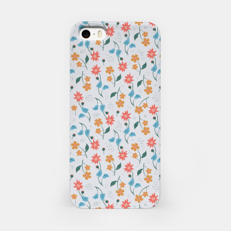 Beautiful Abstract Modern Wildflowers, Blooming Scandinavian Pattern and Print in Trendy Colors iPhone Case obraz miniatury