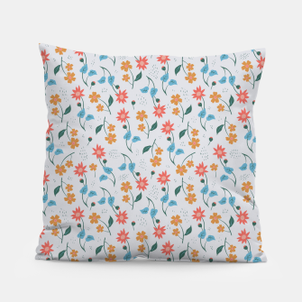 Beautiful Abstract Modern Wildflowers, Blooming Scandinavian Pattern and Print in Trendy Colors Pillow obraz miniatury