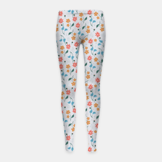 Beautiful Abstract Modern Wildflowers, Blooming Scandinavian Pattern and Print in Trendy Colors Girl's leggings obraz miniatury