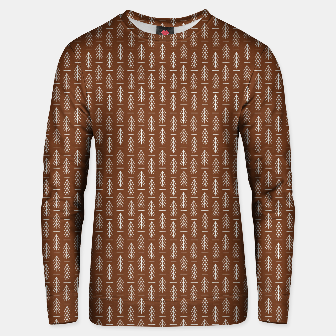Zdjęcie Simple Winter Pine Trees Hand-drawn Pattern in Cinnamon and Ivory Color, Linen Texture Unisex sweater - Live Heroes