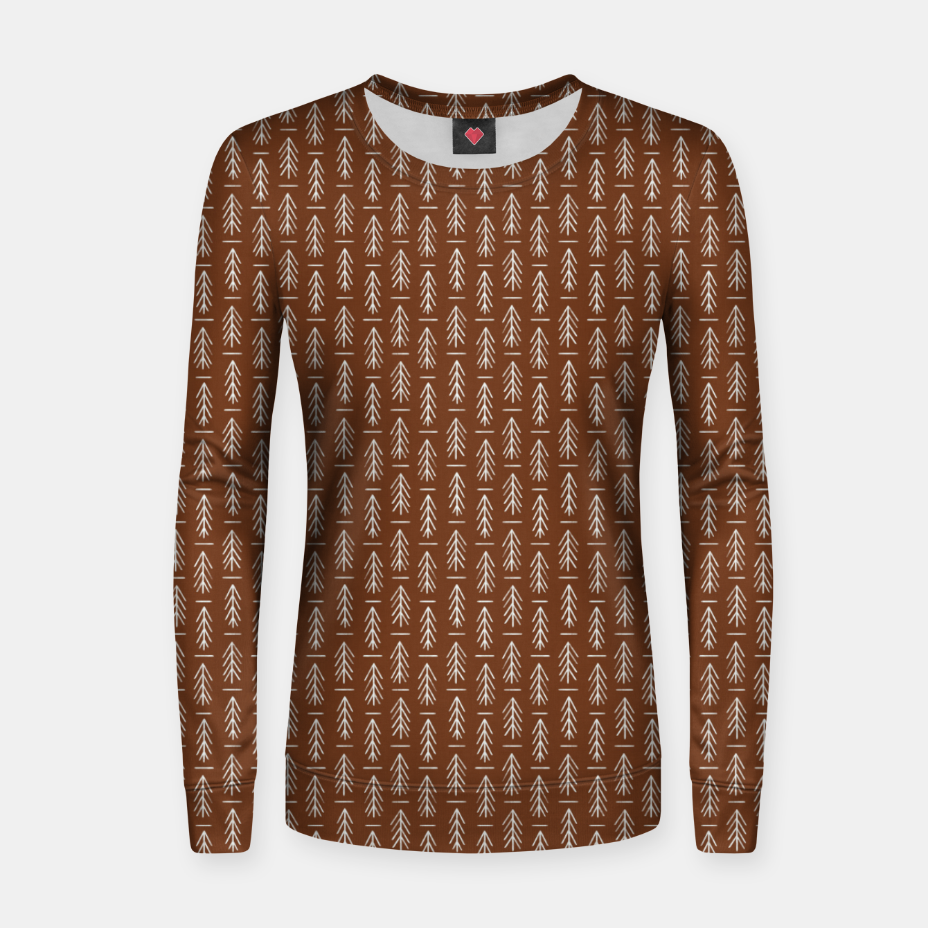 Foto Simple Winter Pine Trees Hand-drawn Pattern in Cinnamon and Ivory Color, Linen Texture Women sweater - Live Heroes