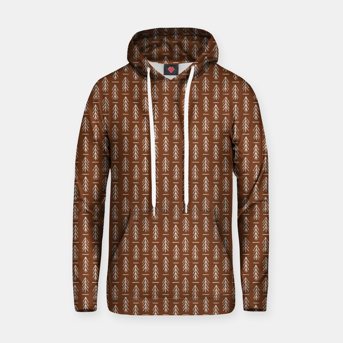 Foto Simple Winter Pine Trees Hand-drawn Pattern in Cinnamon and Ivory Color, Linen Texture Hoodie - Live Heroes