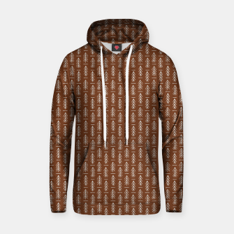 Thumbnail image of Simple Winter Pine Trees Hand-drawn Pattern in Cinnamon and Ivory Color, Linen Texture Hoodie, Live Heroes