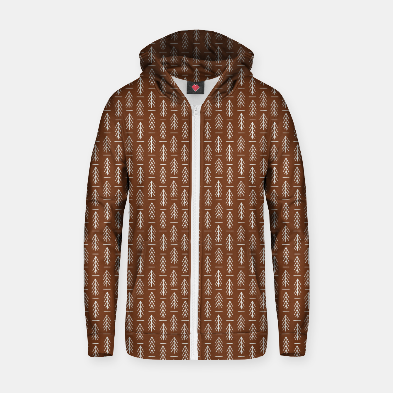 Foto Simple Winter Pine Trees Hand-drawn Pattern in Cinnamon and Ivory Color, Linen Texture Zip up hoodie - Live Heroes