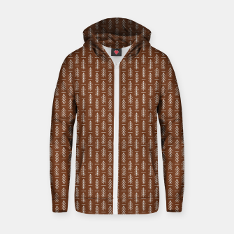 Thumbnail image of Simple Winter Pine Trees Hand-drawn Pattern in Cinnamon and Ivory Color, Linen Texture Zip up hoodie, Live Heroes