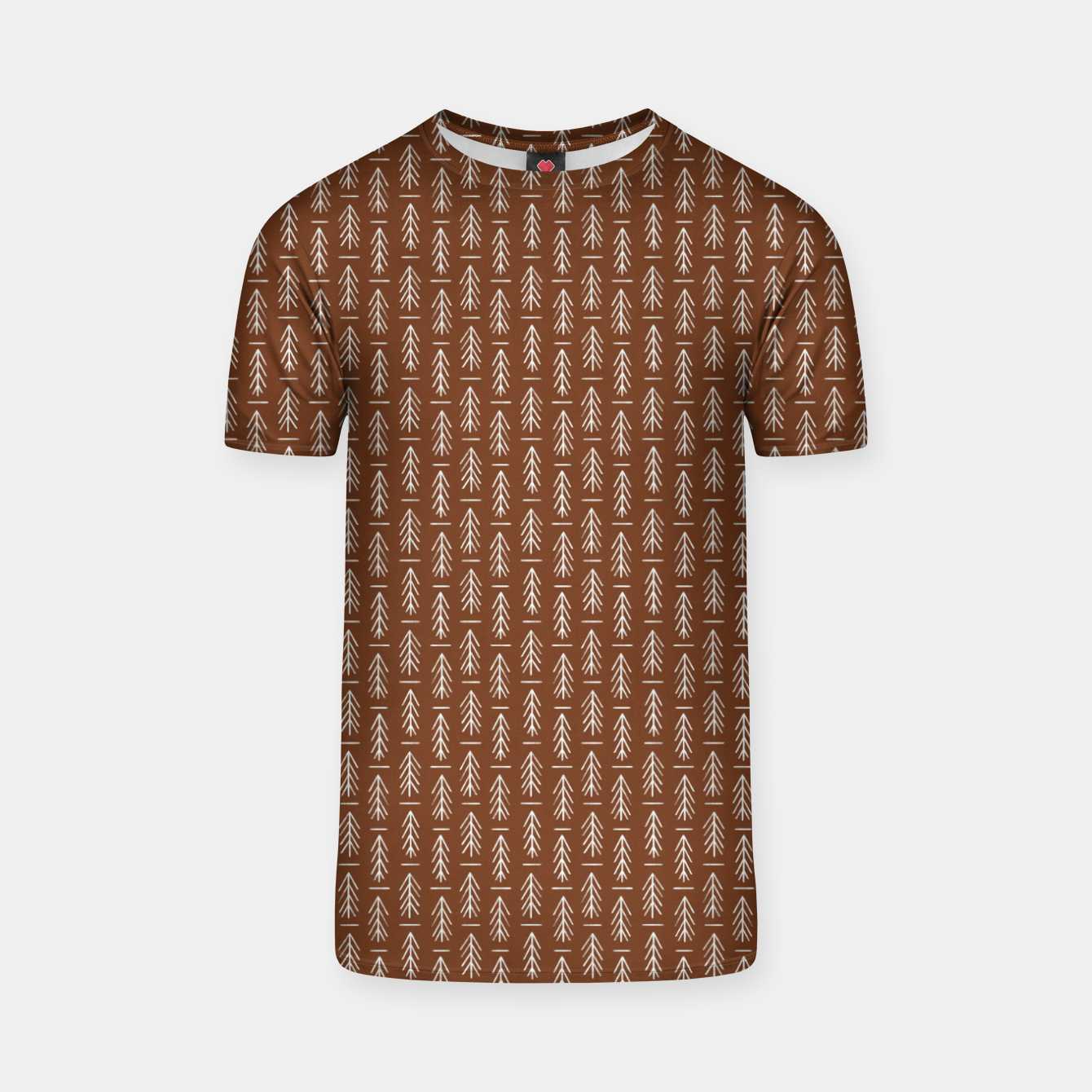 Foto Simple Winter Pine Trees Hand-drawn Pattern in Cinnamon and Ivory Color, Linen Texture T-shirt - Live Heroes