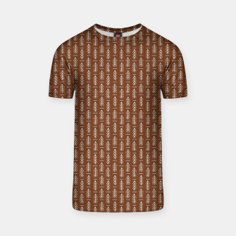 Thumbnail image of Simple Winter Pine Trees Hand-drawn Pattern in Cinnamon and Ivory Color, Linen Texture T-shirt, Live Heroes