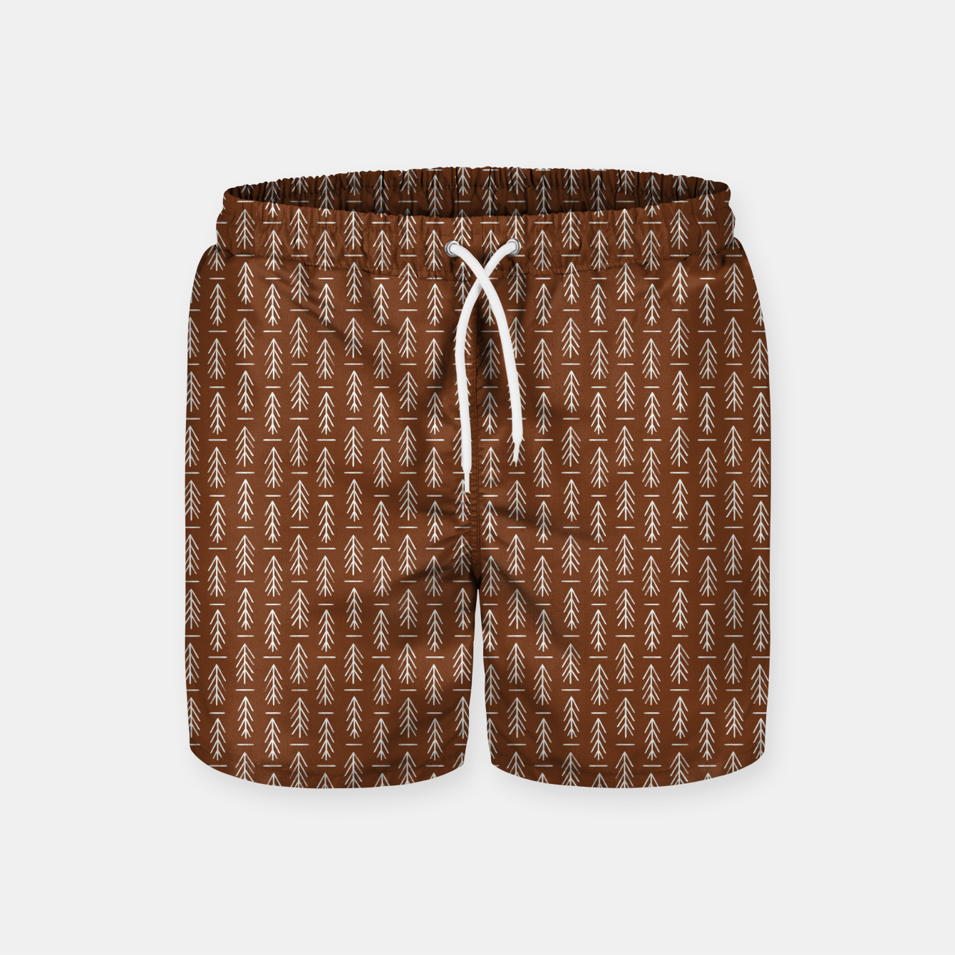 Foto Simple Winter Pine Trees Hand-drawn Pattern in Cinnamon and Ivory Color, Linen Texture Swim Shorts - Live Heroes