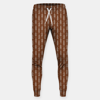 Thumbnail image of Simple Winter Pine Trees Hand-drawn Pattern in Cinnamon and Ivory Color, Linen Texture Sweatpants, Live Heroes