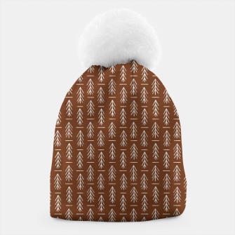 Thumbnail image of Simple Winter Pine Trees Hand-drawn Pattern in Cinnamon and Ivory Color, Linen Texture Beanie, Live Heroes
