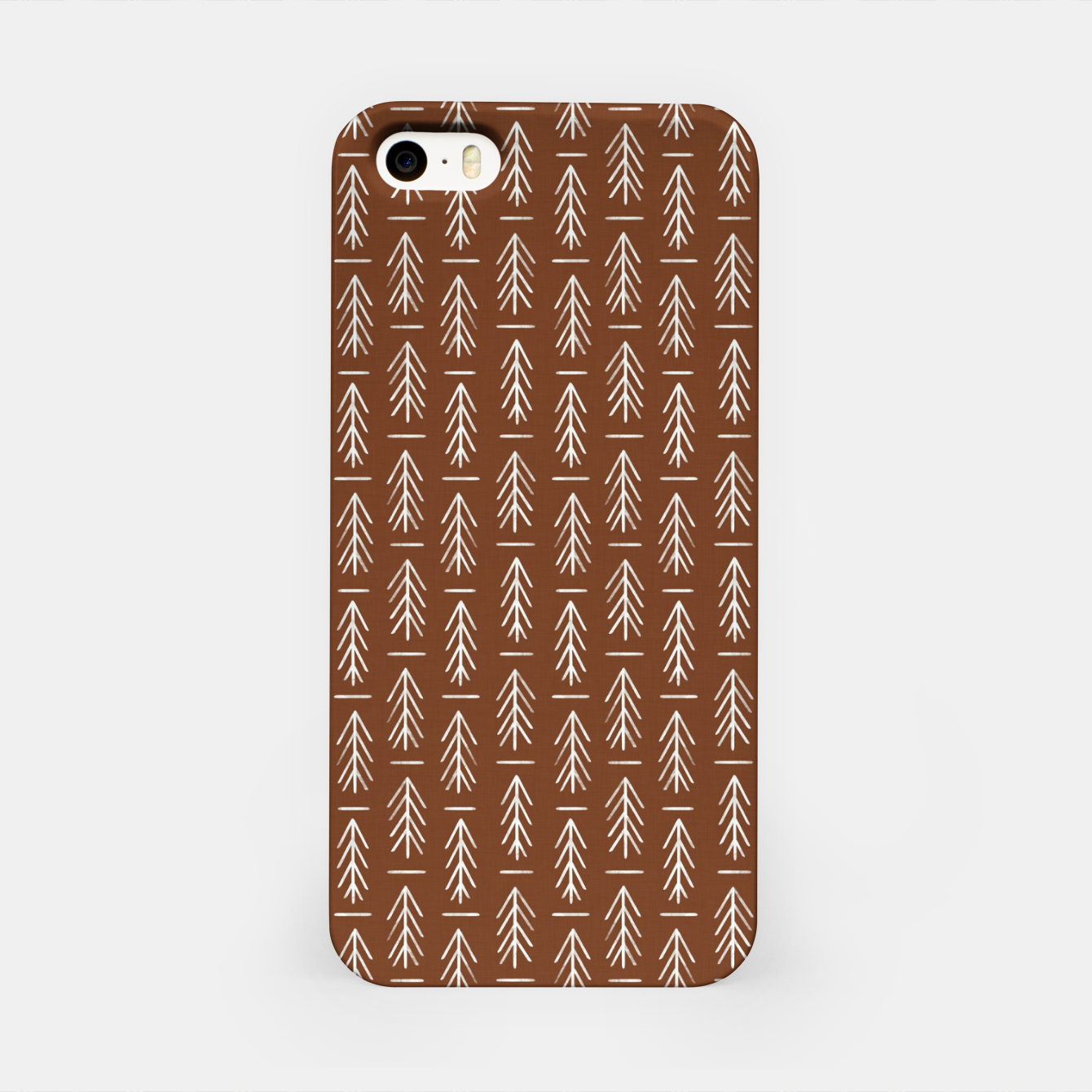 Zdjęcie Simple Winter Pine Trees Hand-drawn Pattern in Cinnamon and Ivory Color, Linen Texture iPhone Case - Live Heroes