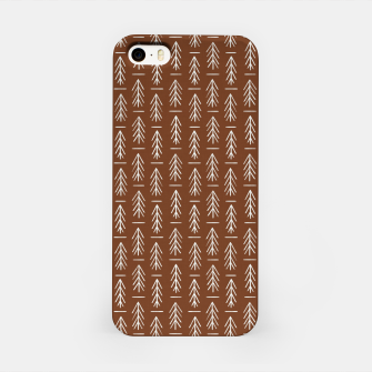 Thumbnail image of Simple Winter Pine Trees Hand-drawn Pattern in Cinnamon and Ivory Color, Linen Texture iPhone Case, Live Heroes