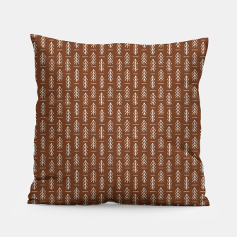 Thumbnail image of Simple Winter Pine Trees Hand-drawn Pattern in Cinnamon and Ivory Color, Linen Texture Pillow, Live Heroes