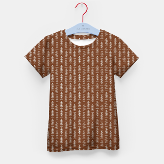 Thumbnail image of Simple Winter Pine Trees Hand-drawn Pattern in Cinnamon and Ivory Color, Linen Texture Kid's t-shirt, Live Heroes