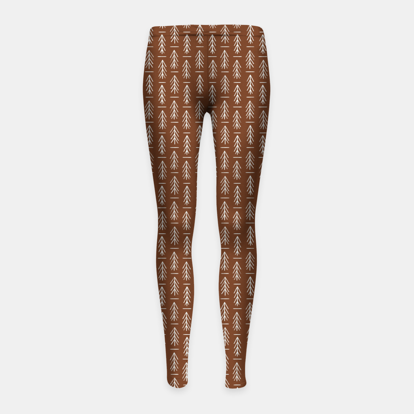 Zdjęcie Simple Winter Pine Trees Hand-drawn Pattern in Cinnamon and Ivory Color, Linen Texture Girl's leggings - Live Heroes