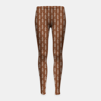 Thumbnail image of Simple Winter Pine Trees Hand-drawn Pattern in Cinnamon and Ivory Color, Linen Texture Girl's leggings, Live Heroes