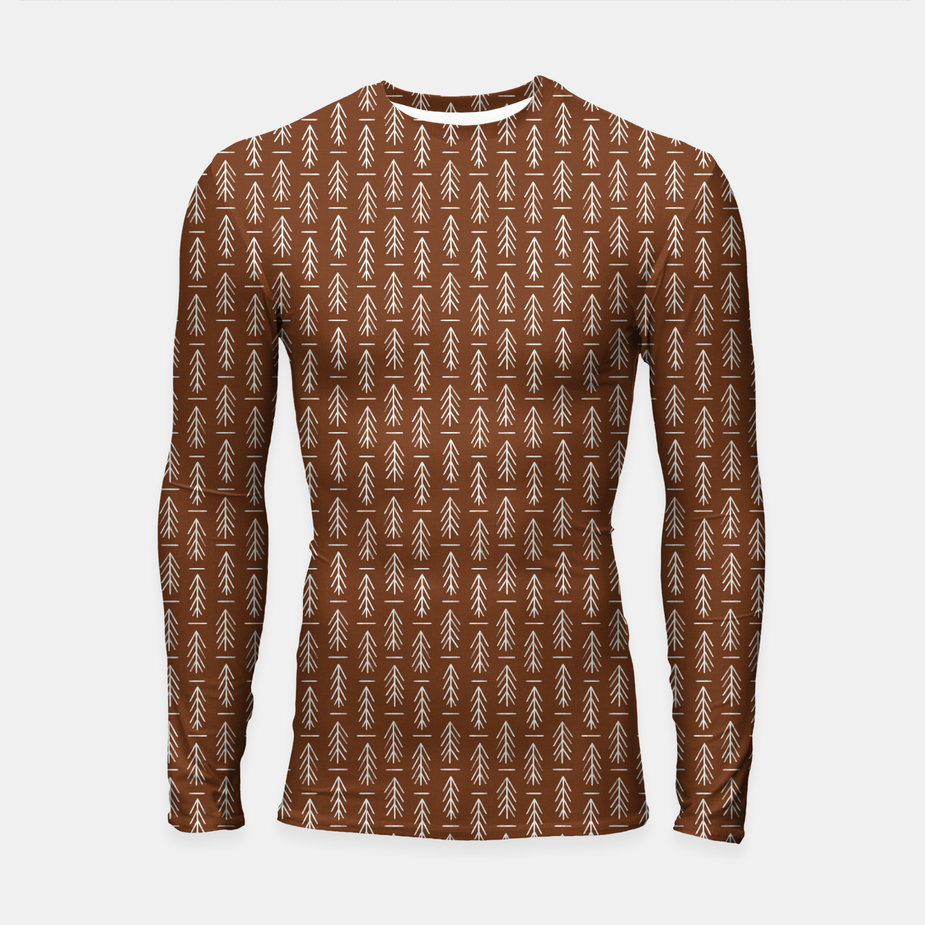 Foto Simple Winter Pine Trees Hand-drawn Pattern in Cinnamon and Ivory Color, Linen Texture Longsleeve rashguard  - Live Heroes