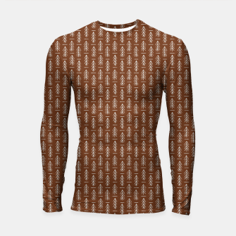 Thumbnail image of Simple Winter Pine Trees Hand-drawn Pattern in Cinnamon and Ivory Color, Linen Texture Longsleeve rashguard , Live Heroes