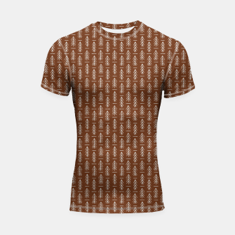 Thumbnail image of Simple Winter Pine Trees Hand-drawn Pattern in Cinnamon and Ivory Color, Linen Texture Shortsleeve rashguard, Live Heroes