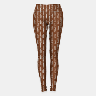 Thumbnail image of Simple Winter Pine Trees Hand-drawn Pattern in Cinnamon and Ivory Color, Linen Texture Leggings, Live Heroes