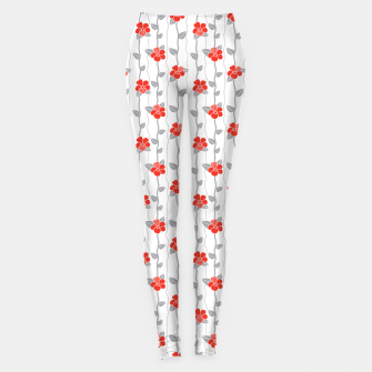 Thumbnail image of Tropical Hibiscus Floral Pattern in White, Red and Grey  Leggings, Live Heroes