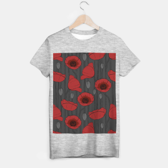 Miniaturka Poppies Field, Handmade Drawing, Pattern in Red, Grey and Black T-shirt regular, Live Heroes