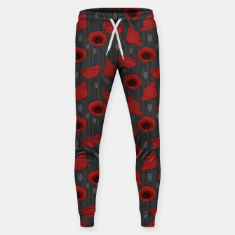 Miniaturka Poppies Field, Handmade Drawing, Pattern in Red, Grey and Black Sweatpants, Live Heroes