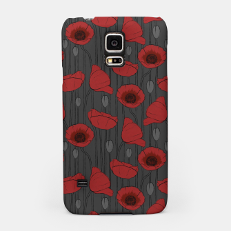 Miniaturka Poppies Field, Handmade Drawing, Pattern in Red, Grey and Black Samsung Case, Live Heroes