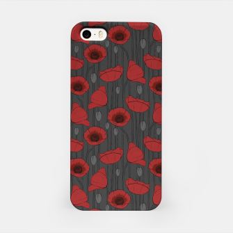 Miniaturka Poppies Field, Handmade Drawing, Pattern in Red, Grey and Black iPhone Case, Live Heroes