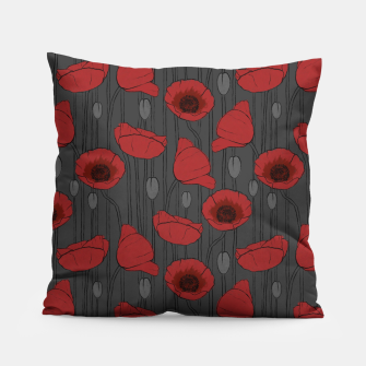 Miniaturka Poppies Field, Handmade Drawing, Pattern in Red, Grey and Black Pillow, Live Heroes