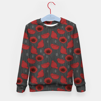 Miniaturka Poppies Field, Handmade Drawing, Pattern in Red, Grey and Black Kid's sweater, Live Heroes