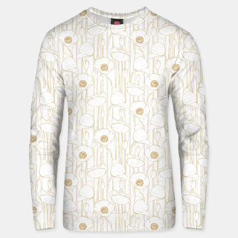 Miniatur Poppies Field, Floral Handmade Pattern, White and Gold Texture Unisex sweater, Live Heroes