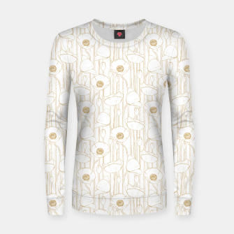 Miniatur Poppies Field, Floral Handmade Pattern, White and Gold Texture Women sweater, Live Heroes