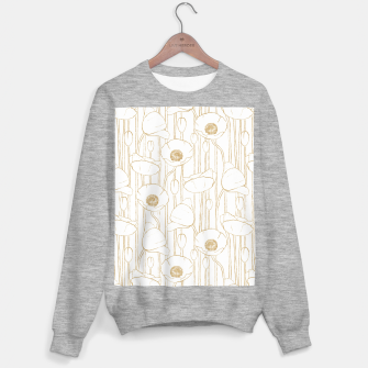 Miniatur Poppies Field, Floral Handmade Pattern, White and Gold Texture Sweater regular, Live Heroes