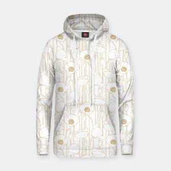Miniatur Poppies Field, Floral Handmade Pattern, White and Gold Texture Hoodie, Live Heroes