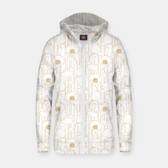 Miniatur Poppies Field, Floral Handmade Pattern, White and Gold Texture Zip up hoodie, Live Heroes